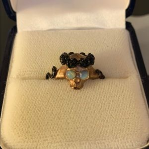 18K Rose Gold Plated Memento Mori Skull Ring Opal